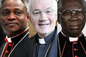 The current frontrunners (l to r): Cardinal Turkson of Ghana, Cardinal Ouellet of Canada, Cardinal Arinze of Nigeria