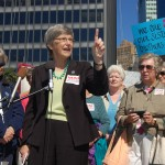 "Sister Simone Campbell of ""Nuns On The Bus"" speaking in lower Manhattan. Source: 2012 Thomas Altfather Good"