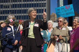 """Sister Simone Campbell of """"Nuns On The Bus"""" speaking in lower Manhattan.  Source: Thomas Altfather Good, 2012, Wikimedia C.C."""