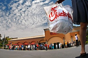 Chik-fil-A supporters line up to gorge themselves patriotically. Via LA Times.