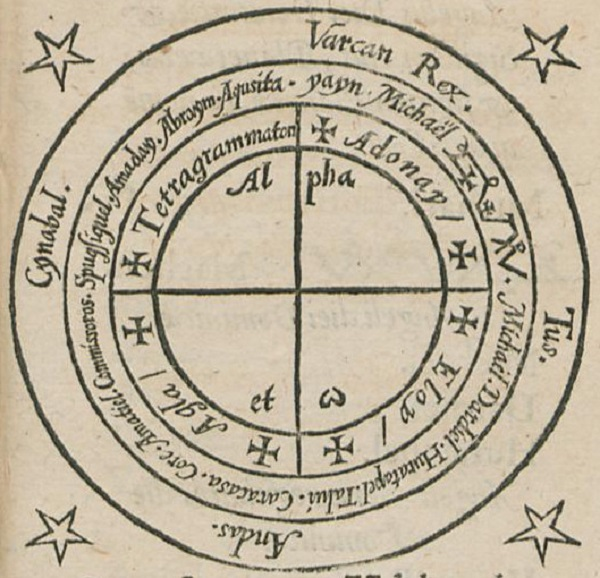 Magic Circle from Heptameron attributed to Peter de Abano. Wikipedia Images.