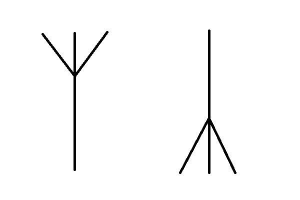 Algiz, Rune from Elder Futhark. Recreated on Paint by author.