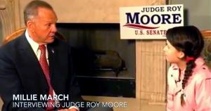 Roy Moore being interviewed by Millie March; America First Project / Screenshot