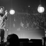 Eddie Vedder at  the LA Sports Arena embodying the stripped down nature of the show.