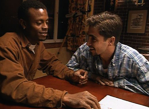 Sean Sasser (left) and Pedro Zamora (right) at the Real World house in San Francisco, 1994.
