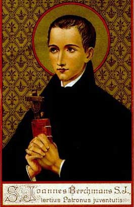Holy card of Saint John Berchmans.