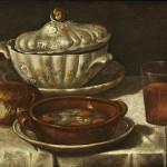 Image from public domain, Wikimedia.org. Stillleben mit Deckelterrine, brauner Tonschale, Brot und Weinglas. Öl auf Leinwand, 18th century.