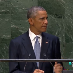 President Barack Obama speaking at the UN