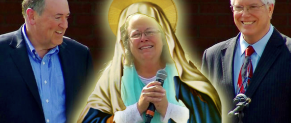 From left to right: Mike Huckabee, Kim Davis, Mat Staver (Image via Reddit)