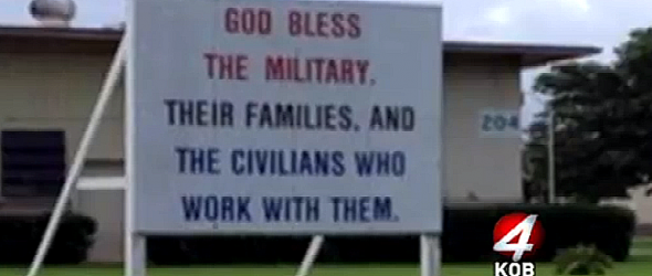 Marine Commander Claims 'God Bless The Military' Sign Is Secular
