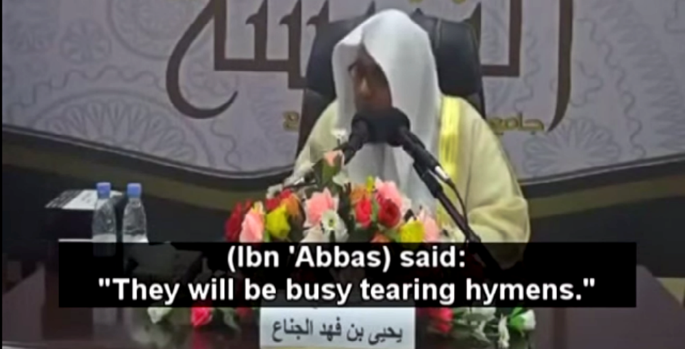 Saudi Cleric: In Heaven, Men Will Be Busy Tearing Hymens