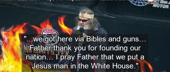 NASCAR: Duck Dynasty Star Prays For 'Jesus Man' In The White House
