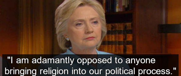 Hillary Clinton Rejects Religious Test In Politics, Defends Constitution