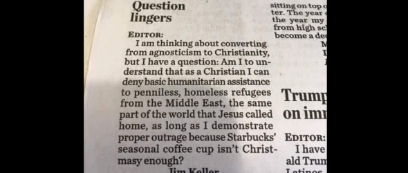 Letter To Editor Demonstrates Christian Hypocrisy