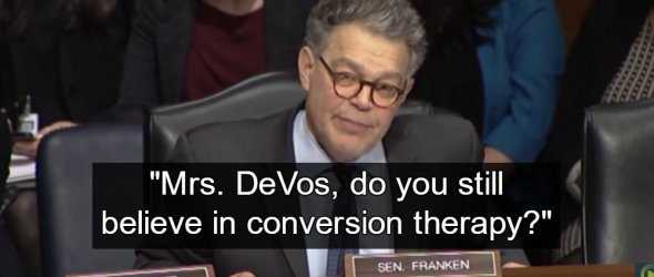 Al Franken Grills DeVos For Supporting Gay Conversion Therapy