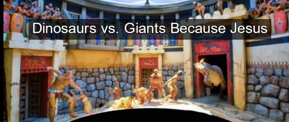 Ham's Ark Encounter Exhibit Features Giants Fighting Dinosaurs