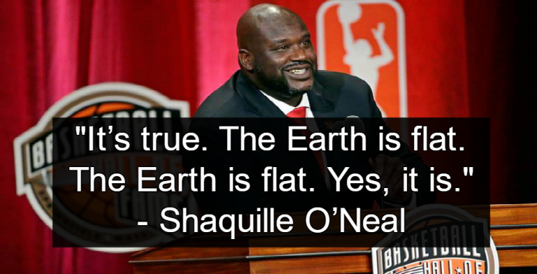 Shaquille O'Neal defends the flat Earth hypothesis (Image via Facebook)