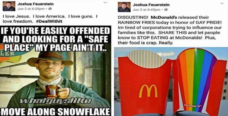 Special Snowflake Joshua Feuerstein Panics Over McDonald's Rainbow Fries (Image via Reddit)
