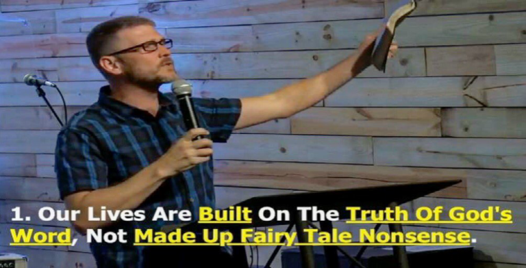 "Pastor Greg Locke Rejects ""Made Up Fairy Tale Nonsense"" (Image via Twitter)"
