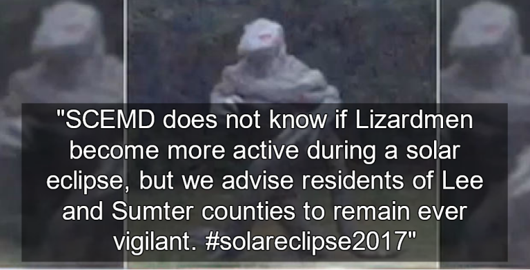 SC  warns citizens of 'Lizard Man' sightings during solar eclipse