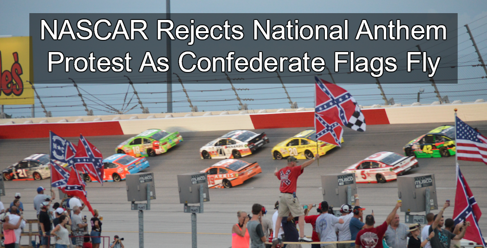 NASCAR Rejects National Anthem Protest As Confederate Flags Fly (Image via Twitter)