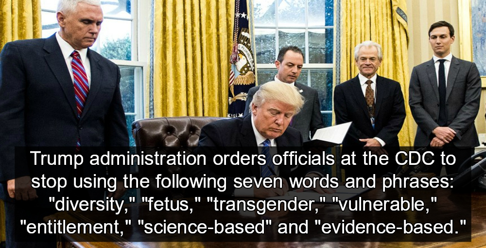 Trump Bans CDC From Using Words Like  'Fetus, Diversity, Transgender' (Image via Twitter)