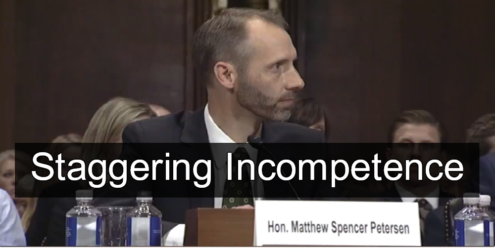 Trump Judicial Nominee Matthew Spencer Petersen Knows Nothing About The Law (image via Screen Grab)