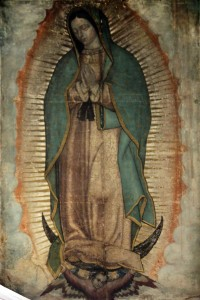Picture of Our Lady of Guadalupe (also known as the Virgin of Guadalupe) shown in the Basilica of Our Lady of Guadalupe in México City. This image was originally posted to Wikipedia https://en.wikipedia.org/wiki/Our_Lady_of_Guadalupe#/media/File:1531_Nuestra_Señora_de_Guadalupe_anagoria.jpg. It is in the public domain.