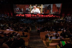 In a video, His Holiness Pope Francis speaks at TED2017 (Photo: Ryan Lash / TED) Fair use.