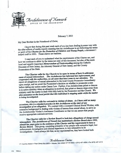 Arch myers letter