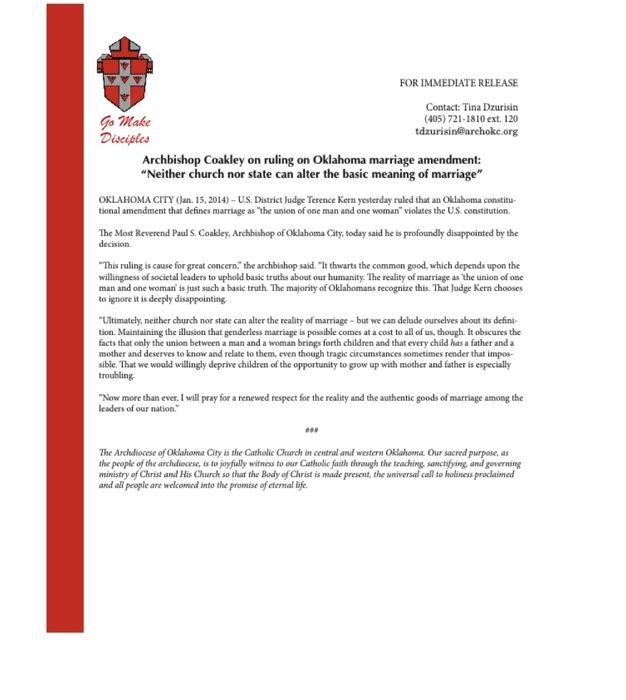 Coakley statement ok marriage decision