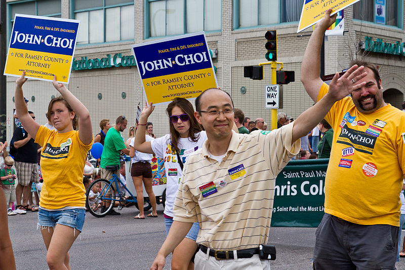 Ramsey County Prosecutor John Choi, marching in the Twin Cities Pride Parade. Photo Source: Wikimedia by Tony Webster http://flickr.com/photos/87296837@N00/4742812922
