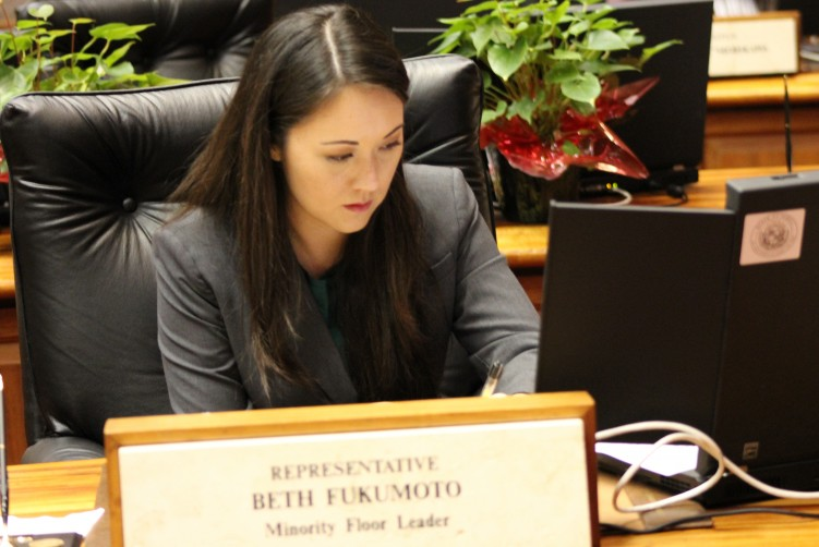 Rep Beth Fukumoto, in Chamber. Photo Source: File Photo, Hawaii Legislature