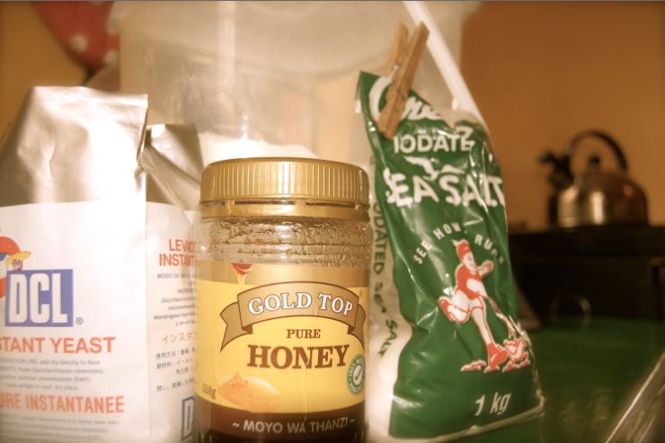 5 ingredients: honey, salt, yeast, and flour