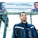 This billboard placed in a historically black section of Dallas earned Alix much scorn. It started a dialogue about how atheists don't really do good things like the neighborhood churches. In response to a pastor's challenge Alix and friends picked greens for the needy.