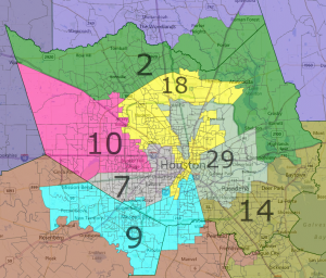 More urban parts of Houston are diluted with suburban areas.