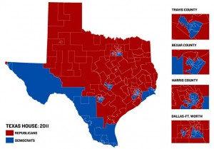 Texas's major populated areas Austin, Houston, San Antonio, and Dallas/Fort Worth are Blue.