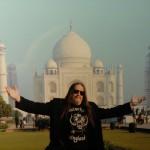 Riding through Agra