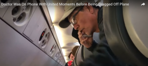 """Reported by United as """"belligerent"""" and """"unruly"""". Dao is on the phone with United before being dragged off the place by force."""