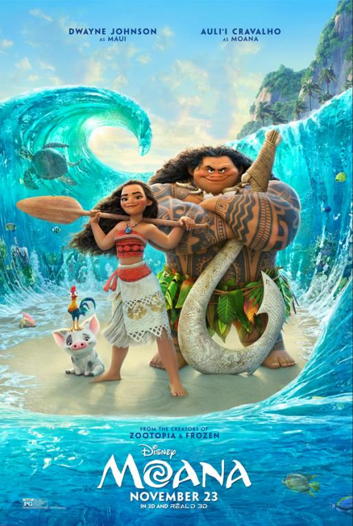 Official poster for Moana, courtesy of Walt Disney Pictures.