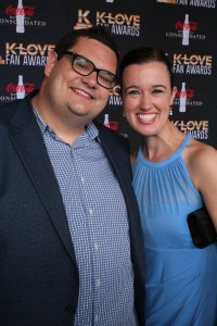 Honeymooners David (Sidewalk Prophets) and Harmony walked the K-Love Fan Awards red carpet. Their special connection was made by Harmony's mother.