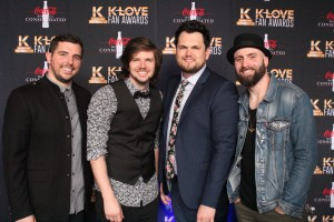 Austin Miller, Cliff Williams, Mikey Howard, and Eric Vanzant of 7eventh Time Down on the K-Love Fan Awards red carpet. Image by LeAnn Hamby