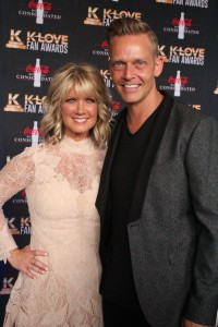 Natalie Grant and Bernie Herms on the K-Love Fan Awards red carpet. The duo were both recently nominated for GRAMMY Awards in different categories. One came home with the award. It was Bernie. Natalie said she has no plans to hide it from him.