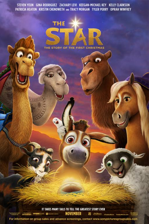 The Star from Sony Animation Pictures is an animated take on the Nativity featuring the voices of Oprah Winfrey, Tyler Perry, Steven Yeun, Patricia Heaton, and many more. Poster courtesy of Sony Pictures Animation. © 2017 CTMG, Inc. All Rights Reserved