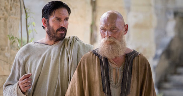 Jim Caviezel as Luke and James Faulkner as Paul in 'Paul, Apostle Of Christ.' © 2017 CTMG. All Rights Reserved
