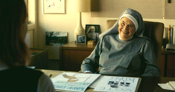 Lois Smith appears as Sister Mary Joan in Lady Bird from A24 Pictures. Image courtesy of A24.
