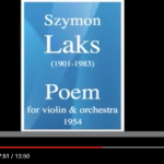 Szymon Laks – Poem for Violin and Orchestra