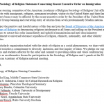 AAR Sociology of Religion Statement on the Executive Order