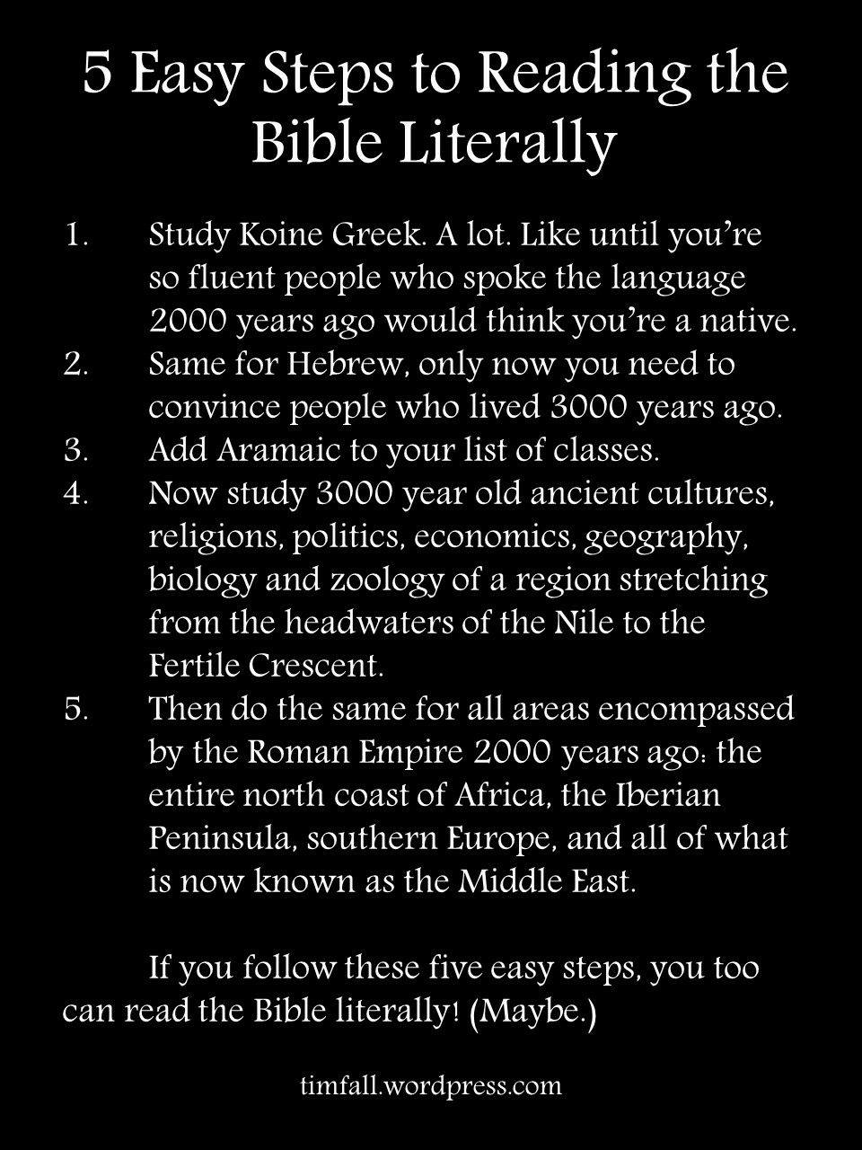 5 easy steps to taking the Bible literally