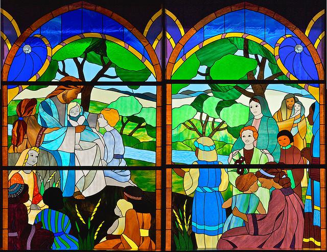 A stained glass window in Creston, Washington. (Credit: wplynn, CC-NoDerivs.)